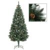 vidaXL műkarácsonyfa fenyőtobozokkal és fehér csillámmal 180 cm