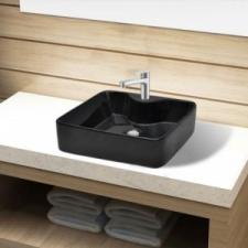 vidaXL Négyszögletes kerámia fürdőszoba mosdókagyló csaptelep lyukkal fekete fürdőkellék