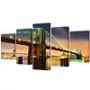 vidaXL Nyomtatott vászon falikép szett Brooklyn híd 100 x 50 cm