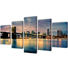 vidaXL Nyomtatott vászon falikép szett Brooklyn híd a folyóval 200 x 100 cm grafika, keretezett kép