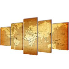 vidaXL Nyomtatott vászon falikép szett Világtérkép 200 x 100 cm grafika, keretezett kép