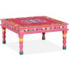 vidaXL rózsaszín, kézzel festett, tömör mangófa dohányzóasztal