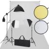 vidaXL Stúdió felszerelés: Fehér háttérvászon, 3 softbox, reflektor