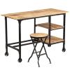 vidaXL tömör mangófa íróasztal összecsukható ülőkével 115 x 50 x 76 cm