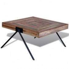 vidaXL Újrahasznosított tíkfa dohányzóasztal V-alakú lábakkal bútor