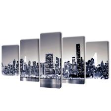 vidaXL Vászon falikép szett monokróm new york-i Skyline 200 x 100 cm grafika, keretezett kép