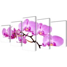 vidaXL Vászon falikép szett orchidea 100 x 50 cm grafika, keretezett kép