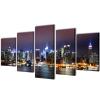 vidaXL Vászon falikép szett színes new york-i Skyline 200 x 100 cm