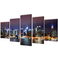 vidaXL Vászon falikép szett színes new york-i Skyline 200 x 100 cm grafika, keretezett kép