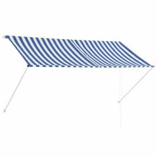 vidaXL vidaXL feltekerhető kék és fehér napellenző 250 x 150 cm kerti dekoráció