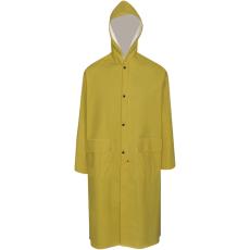 vidaXL Vízálló nagy teherbírású csuklyás hosszú eső ruha méret XL sárga