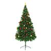 vidaXL zöld műfenyő karácsonyfa díszekkel és LED fényekkel 210 cm