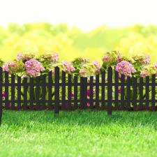 Virágágyás szegély / kerítés fekete, műanyag 60 x 23 cm kerti dekoráció