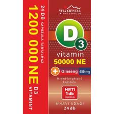 Vita Crystal D3-vitamin 50 000NE heti 1 kapszula 450 mg Ginseng 6 hónapos kiszerelés vitamin és táplálékkiegészítő