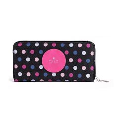 VUCH Ania pettyes nagy körzippes pénztárca-fekete-pink P1725