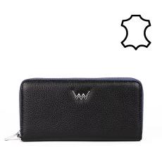 VUCH Celia  nagy körzippes bőr pénztárca-fekete-kék P2000