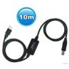 WIRETEK kábel - USB Összekötő A-B - 10m - Aktív - VE595