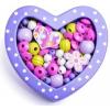 Woody Felfűzhető gyöngyök - Kis szív lila
