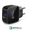 XE.H72PN.003 Qualcomm Quick Charger 3.0 USB tablet és telefon gyors töltő hálózati tápegység 220V fast charger - fekete 5V 2.5A/ 9V 2.5A/ 12V 2A