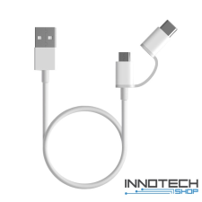 Xiaomi Mi 2-in-1 USB kábel (Micro USB -> Type C) 100cm - FEHÉR mobiltelefon kellék