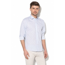 Zee Lane Collection , Slim Fit hajszálcsíkos ing, Világoskék, S (ZLC18S-3004-WHITE-DARK-BLUE-S)