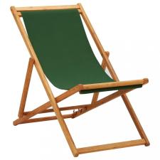 Zöld eukaliptuszfa és szövet összecsukható strandszék kerti bútor